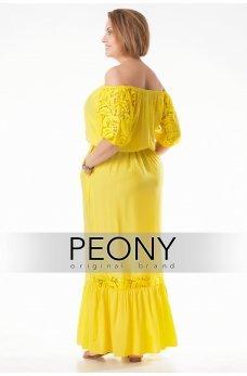 Длинное желтое летнее платье с кружевом