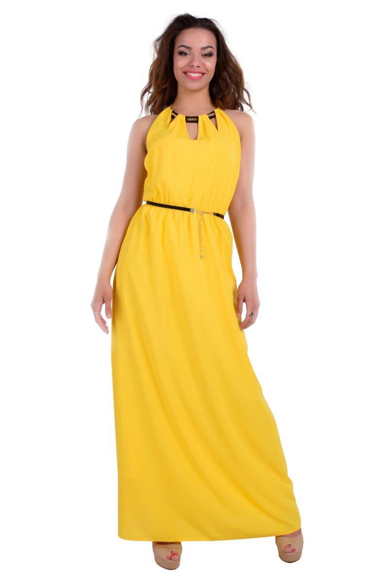 d7b368db13c Купить платье - Длинное желтое платье с открытой спиной