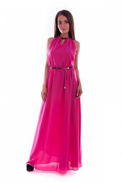 Длинное платье фуксия с открытой спиной