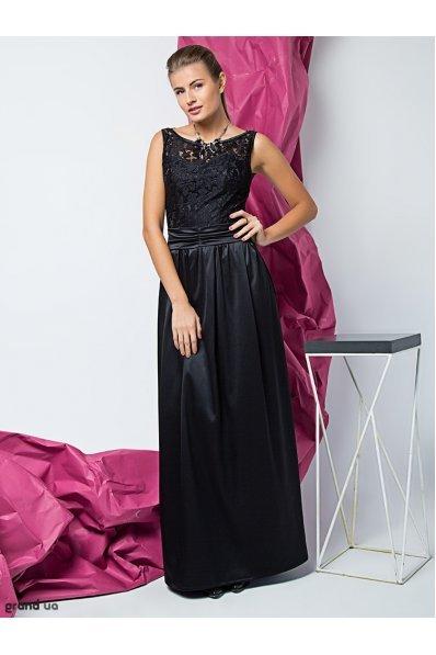 Длинное нарядное платье черное