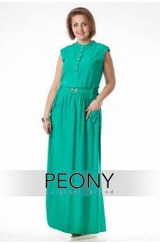 Длинное зеленое платье поло с разрезом