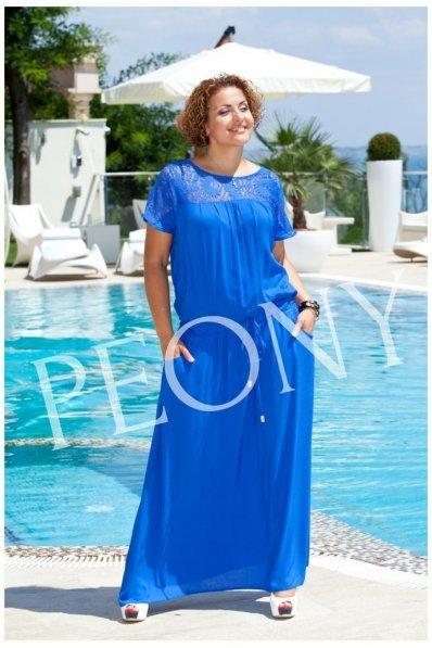Длинное летнее платье с гипюром электрик