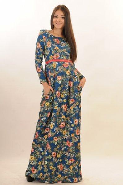 Длинное платье цветочный принт