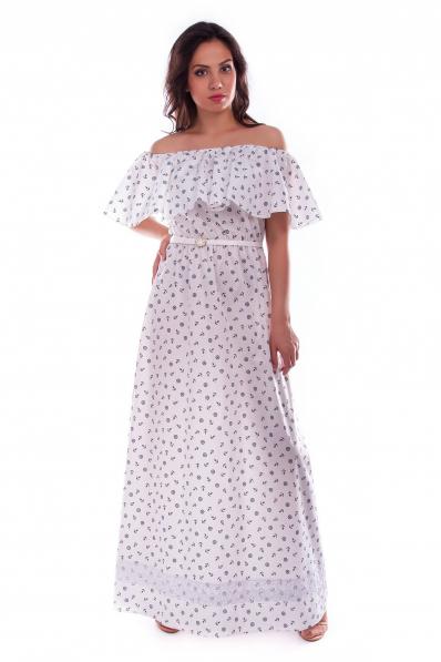Длинное белое платье с принтом якорь