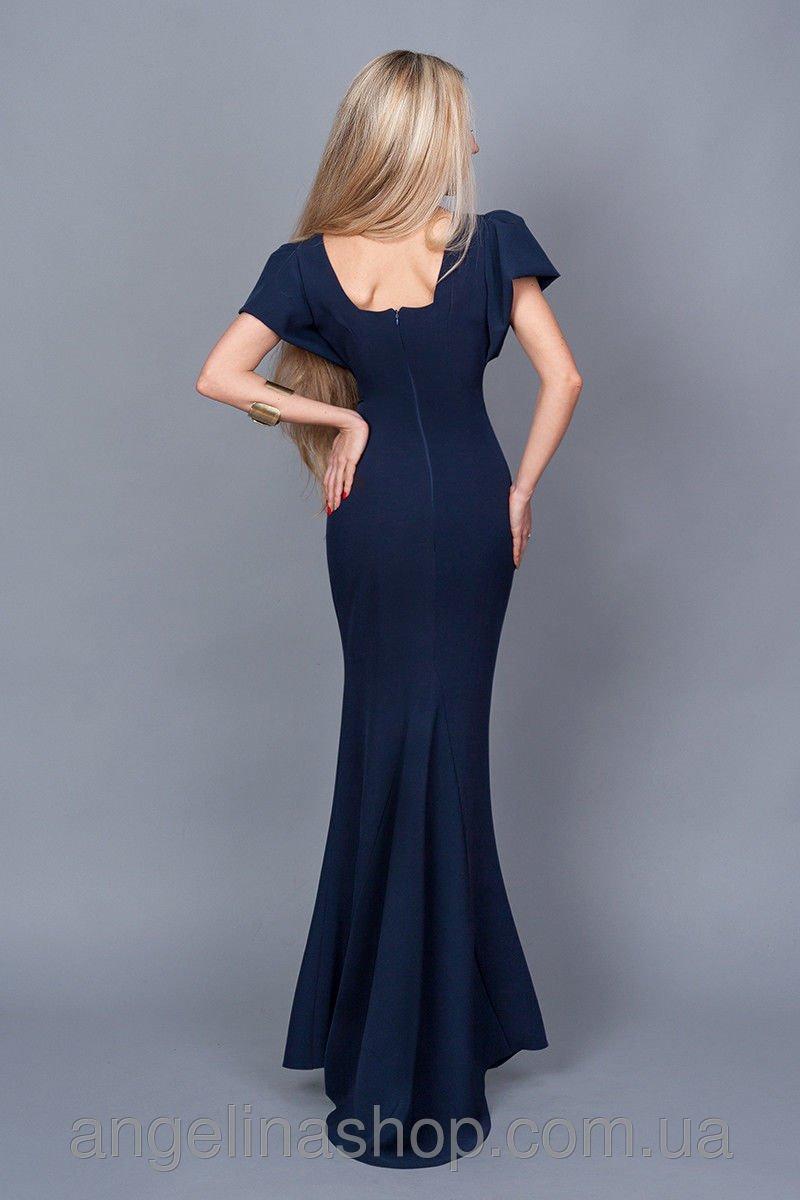 45b4a489ed1894 Купити плаття - Довга темно-синя сукня зі шлейфом