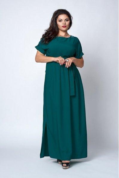 Длинный сарафан из штапеля зеленого цвета