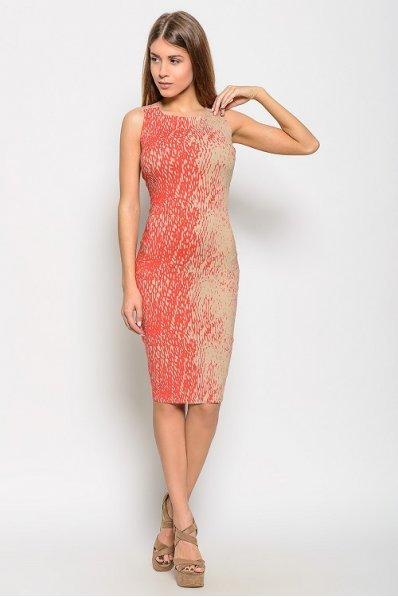 Платье карандаш беж-коралл лен