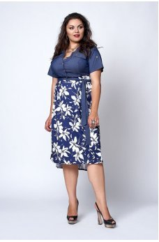 Джинсовое платье в сине-белые цветы