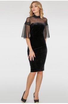 Бархатное платье черного цвета