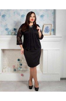 Черное платье батал с накидкой