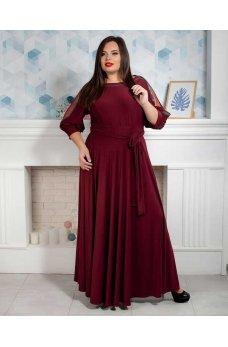 Длинное вечернее платье батал бордового цвета