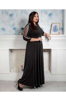 Длинное вечернее платье батал черного цвета
