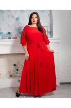 Длинное вечернее платье батал красного цвета