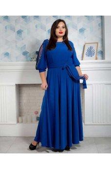 Длинное вечернее платье батал синего цвета