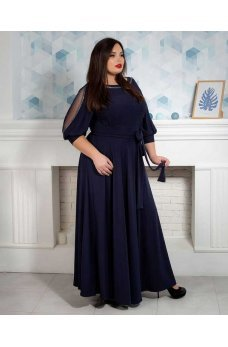 Длинное вечернее платье батал темно-синего цвета