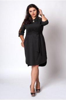 Элегантное черное платье батал