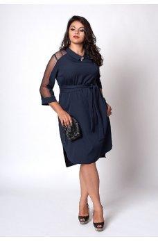 Элегантное темно-синее платье