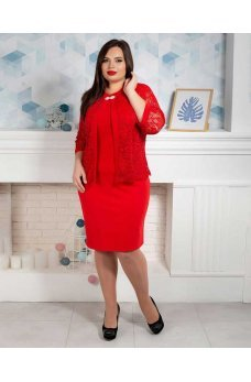Красное платье батал с имитацией накидки