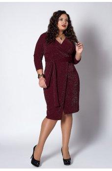 Люрексовое платье бордового цвета