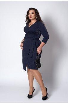 Люрексовое платье темно-синего цвета