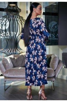 Модель темно-синего цвета с принтом в виде крупного цветка