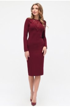 Нежное бордовое платье миди