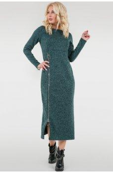 Зеленое спортивное платье с замочком