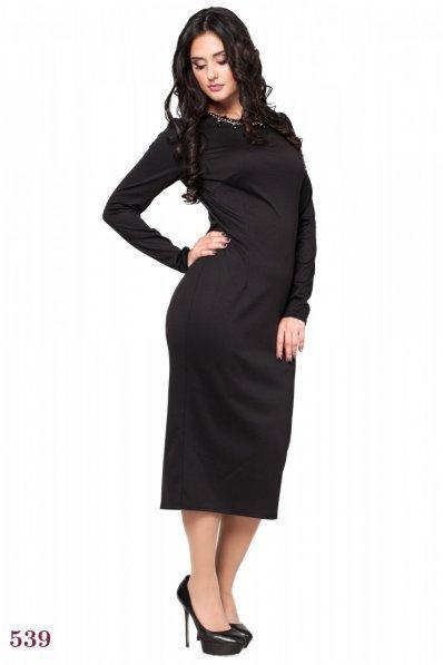 Стильное черное платье миди