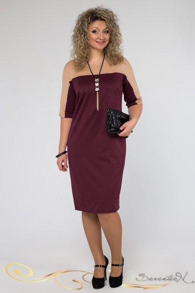 Эффектное бордовое платье