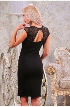 Эффектное черное платье с вырезом на спинке