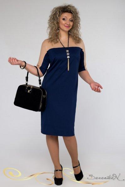 Эффектное сине-бежевое платье