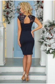 Эффектное синее платье с вырезом на спинке