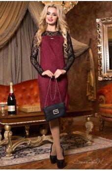 Элегантное бордовое платье из замша