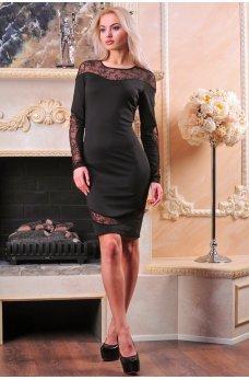 Элегантное платье с фигурными вставками из гипюра