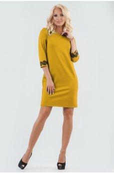 Гірчичне плаття футляр з мереживом на рукавах