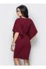 Оригинальное вишневое платье с цельнокроенным рукавом - фото 1