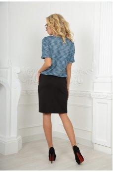 Офисное платье футляр голубого с черным цвета