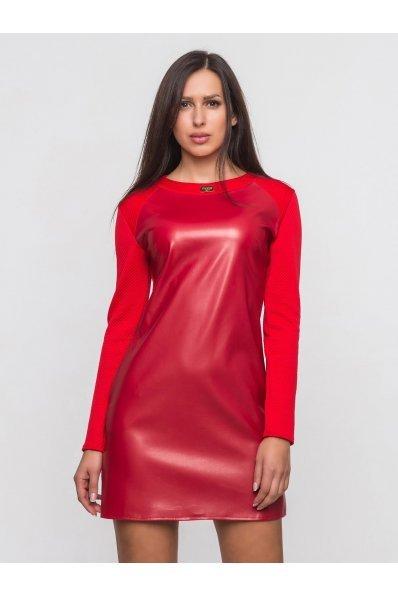 Красное кожаное платье комбинированное