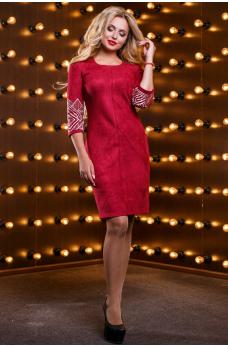 Шикарное замшевое платье цвета марсала