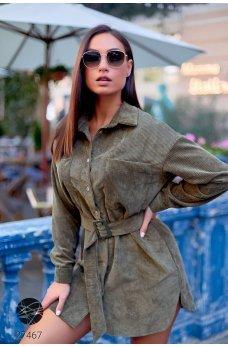 Вельветовое платье-рубашка цвета хаки