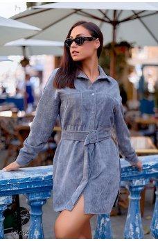 Серое модное платье-рубашка с поясом