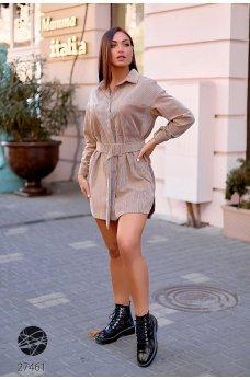 Бежевое универсальное короткое платье-рубашка