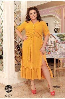 Горчичное яркое платье-рубашка батал с поясом