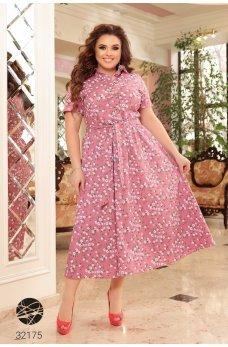 Розовое повседневное котоновое платье-рубашка