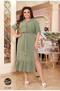 Оливковое стильное батальное платье-рубашка