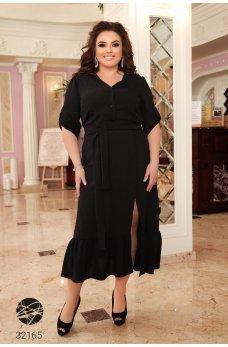 Черное обыденное платье-рубашка с разрезом