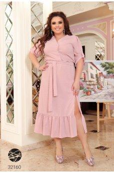 Розовое нежное батальное платье-рубашка с вышивкой