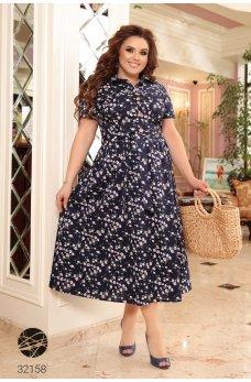 Синее трендовое коттоновое платье-рубашка
