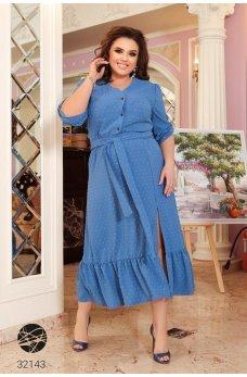 Голубое изысканное элегантное платье-рубашка