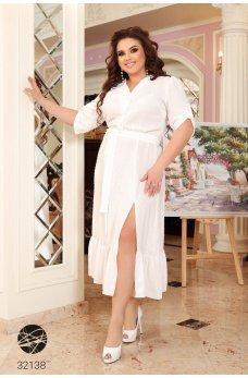 Белоснежное эффектное платье-рубашка
